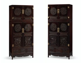 AN OUTSTANDING PAIR OF LARGE ZITAN COMPOUND CABINETS AND HAT