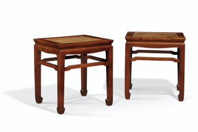 A PAIR OF HUANGHUALI STOOLS, C