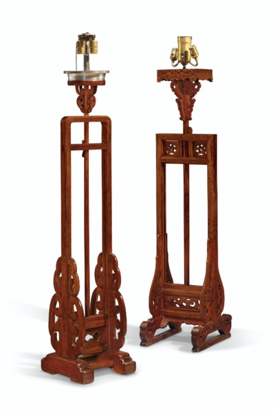 A HUANGHUALI LAMPSTAND AND A J