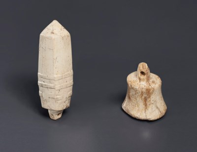 TWO OPAQUE IVORY-COLORED JADE