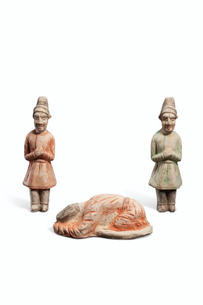 THREE PAINTED POTTERY FIGURES