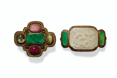 TWO JADE AND HARDSTONE GILT-BR