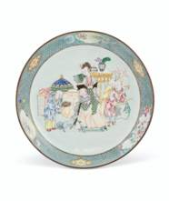 A PAINTED ENAMEL DISH
