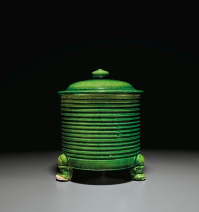A RARE RIBBED GREEN-GLAZED POT