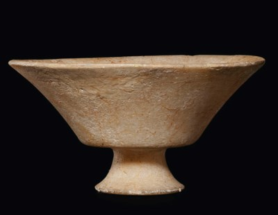 A CYCLADIC MARBLE FOOTED CUP