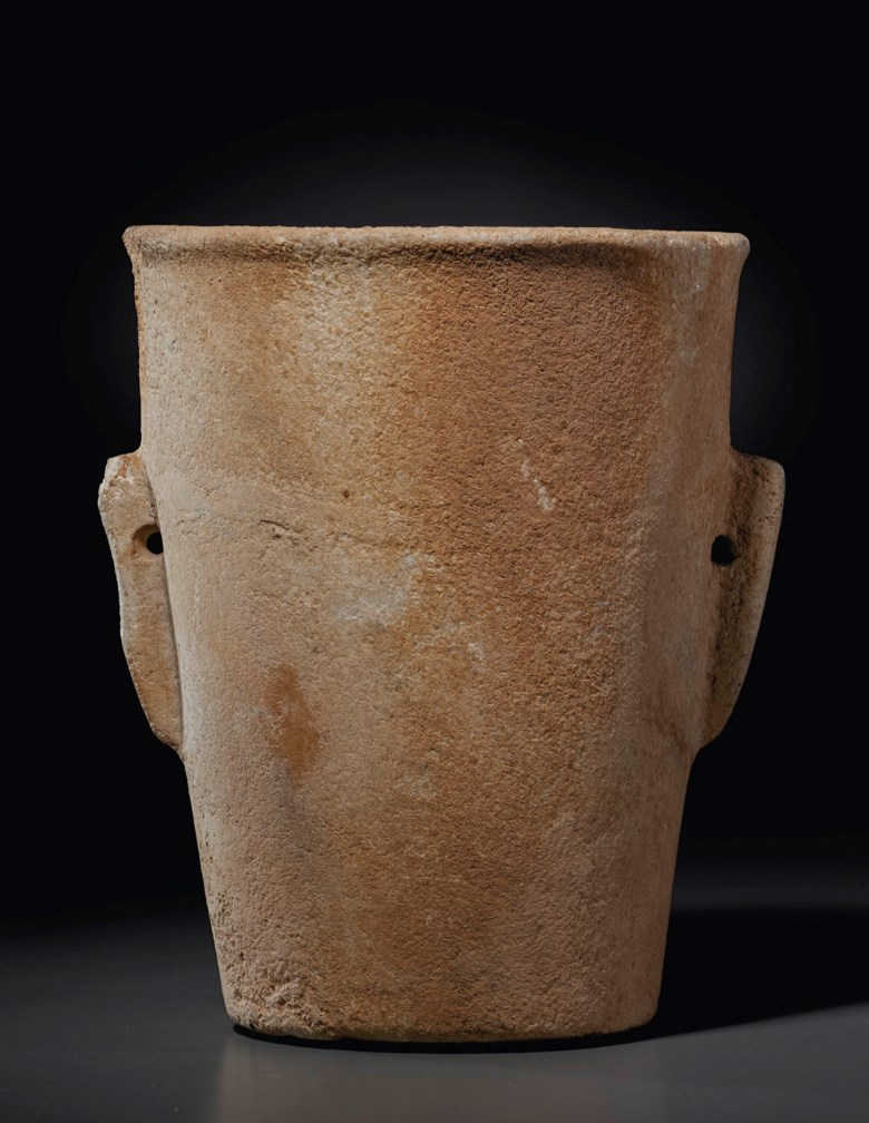 A Cycladic marble beaker, early Cycladic I, circa 3200-2700 BC. 7¼ in (18.4 cm) high. Estimate $20,000-30,000. Offered in Antiquities on 13 October 2020 at Christie's in New York