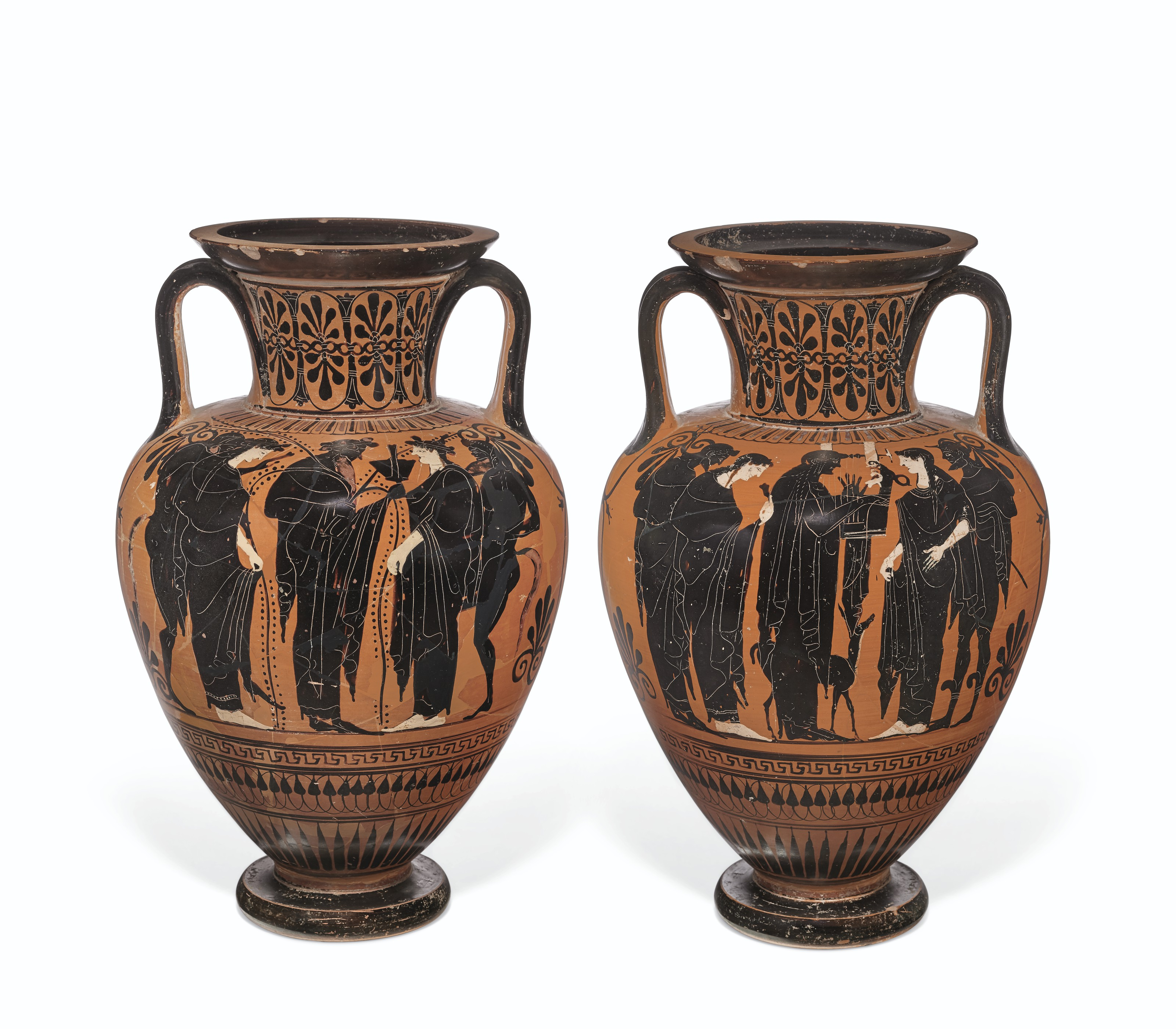 AN ATTIC BLACK FIGURE NIKOSTHENIC PYXIS ATTRIBUTED TO THE