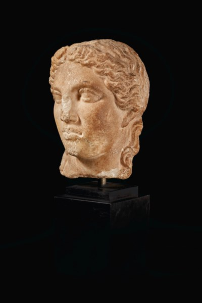 A GREEK MARBLE HEAD OF APOLLO