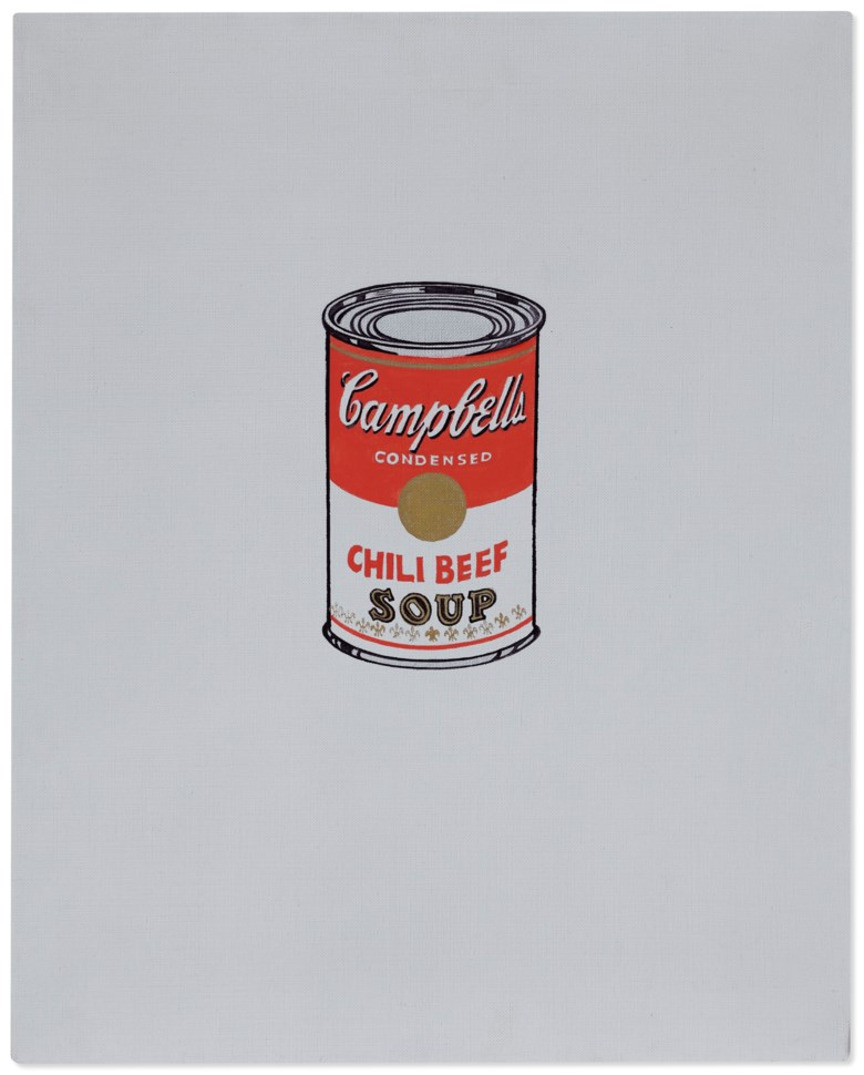 Andy Warhol (1928-1987), Small Campbells Soup Can (Chili Beef), 1962. Casein, metallic paint and graphite on linen. 20 x 16 in (50.8 x 40.6 cm). Sold for $6,630,000 on 2 December 2020 at Christie's in New York