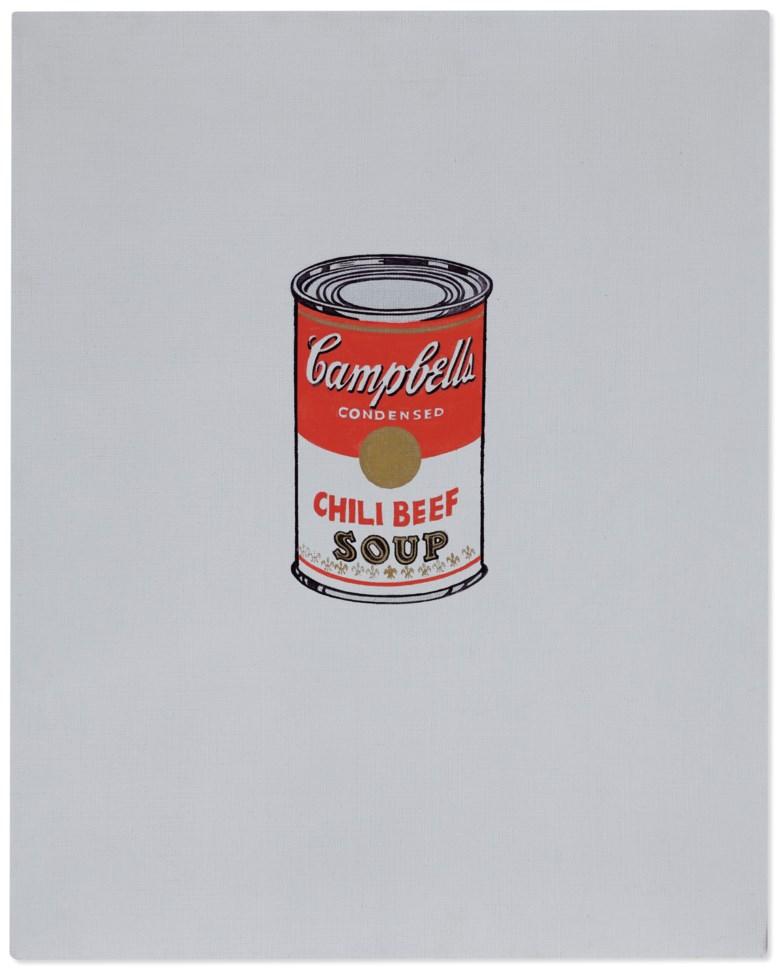安迪·沃荷(1928-1987),《小金宝罐头汤(辣牛肉味)》,1962年作。酪蛋白颜料 金属颜料 石墨 麻布。20 x 16 英寸(50.8 x 40.6 公分)。此作于2020年12月2日在佳士得纽约售出,成交价6,630,000美元