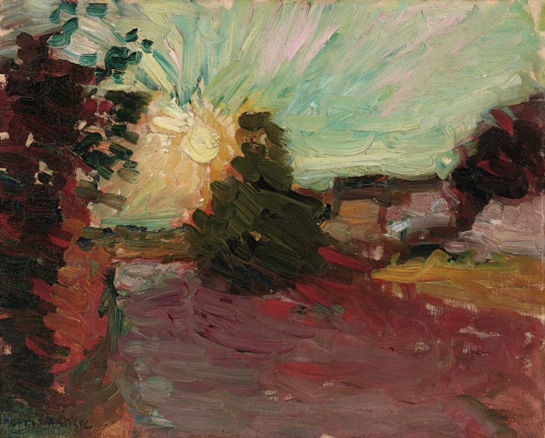 Henri Matisse (1869-1954), Coucher de soleil en Corse, 1898. Oil on canvas. 12⅞ x 16  in (32.7 x 40.7  cm). Estimate $300,000-400,000. Offered in Impressionist & Modern Art Day Sale on 8 October 2020 at Christie's in New York