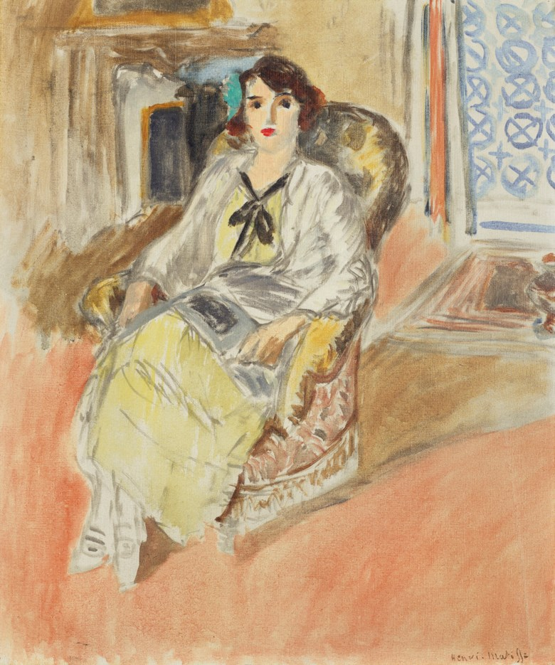 Henri Matisse (1869-1954), Jeune fille assise, robe jaune, 1921-1922. Oil on canvas. 21⅞ x 18 ½  in (55.4 x 47.2  cm). Estimate $700,000-1,000,000. Offered in Impressionist & Modern Art Day Sale on 8 October 2020 at Christie's in New York