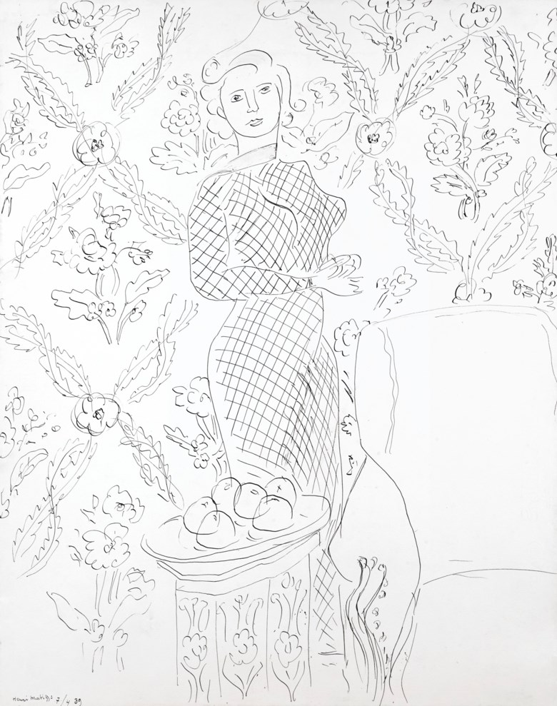 Henri Matisse (1869-1954), Femme en robe de résille debout près dun plat de fruits, 1939. Pen and India ink on paper. 24⅝ x 13½  in (62.8 x 49.8  cm). Estimate $150,000-200,000. Offered in Impressionist & Modern Art Day Sale on 8 October 2020 at Christie's in New York