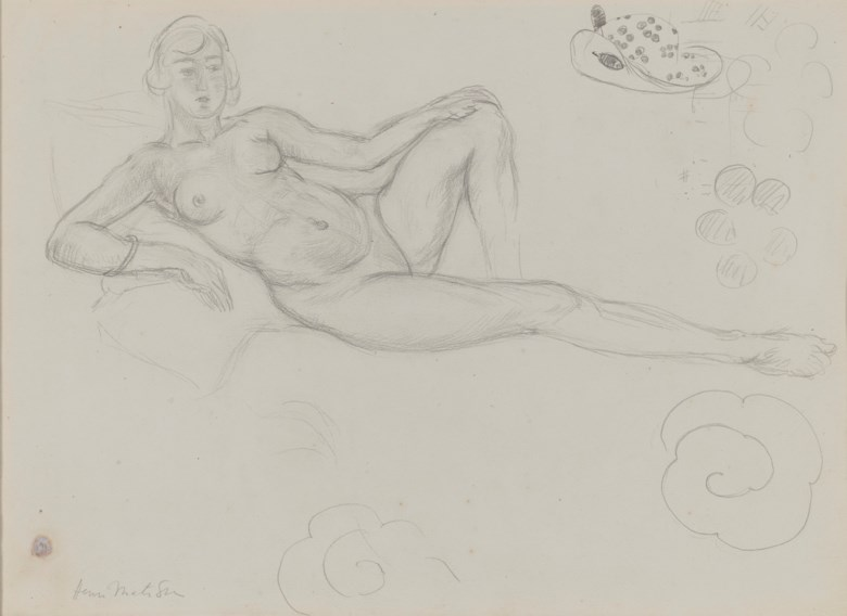 Henri Matisse (1869-1954), Nu étendu (recto); Etudes (verso), 1918-1919. Pencil on paper. 11 x 15¼  in (28 x 38.6  cm). Estimate $70,000-100,000. Offered in Impressionist & Modern Art Day Sale on 8 October 2020 at Christie's in New York