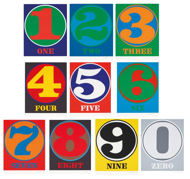 Robert Indiana (1928-2018), Numbers. Each sheet 25⅜ x 19⅝ in (645 x 499 mm). Estimate $60,000-80,000. Offered in  Domberger 65 years of Screen Printing, 27 February to 6 March 2020, Online