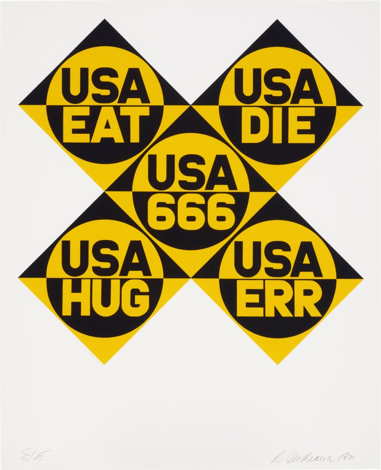 Robert Indiana (1928-2018), USA 666, from Decade. Screenprint. 38⅞ x 31⅛ in (987 x 791 mm). Estimate $2,000-3,000. Offered in  Domberger 65 years of Screen Printing, 27 February to 6 March 2020, Online