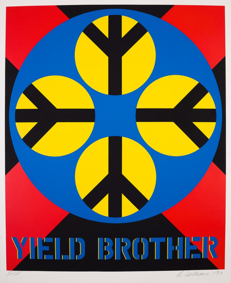 Robert Indiana (1928-2018), Yield Brother, from Decade. Screen print 39 x 31⅞ in (991 x 810 mm). Estimate $1,500-2,000. Offered in  Domberger 65 years of Screen Printing, 27 February to 6 March 2020, Online