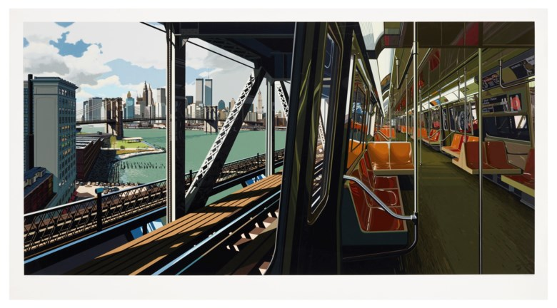 Richard Estes (b. 1932), D-Train, 1988. Screenprint in colours, on museum board. Sheet 42 x 76⅞ in (1067 x 1953 mm). Estimate $30,000-50,000. Offered in Domberger 65 years of Screen Printing, 27 February to 6 March 2020, Online
