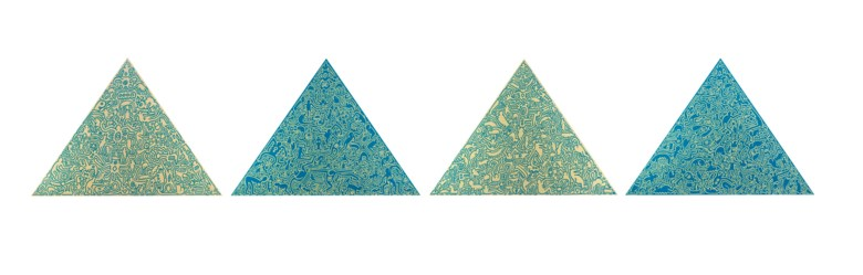 Keith Haring (1958-1990), Pyramid. 1989. The complete set of four screenprints in gold and blue, on shaped anodized aluminium panels. Each panel 40⅝ x 56¾ in (1032 x 1442 mm). Estimate $180,000-220,000. Offered in Domberger 65 years of Screen Printing, 27 February to 6 March 2020, Online
