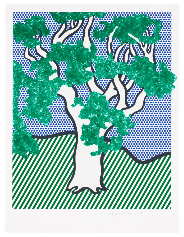 Roy Lichtenstein (1923-1997), Rain Forest, from Columbus — In Search of a New Tomorrow, 1992. Screenprint in colours, on Fabriano wove paper. Sheet 29⅞ x 22¾ in (759 x 578 mm). Estimate $30,000-50,000. Offered in Domberger 65 years of Screen Printing, 27 February to 6 March 2020, Online