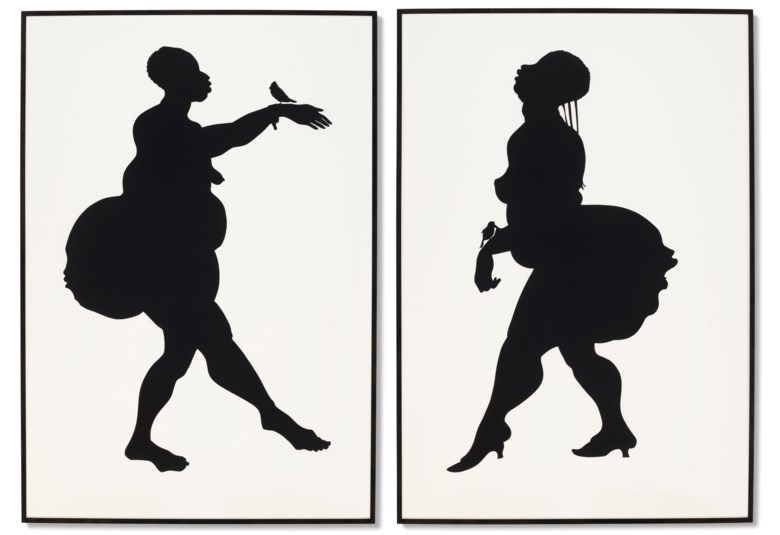 Kara Walker (b. 1969), Untitled, 2001. Cut paper collage on paper, in two parts. Each 70 x 48  in (177.8 x 121.9  cm). Estimate $120,000-180,000. Offered in Post-War & Contemporary Art Day Sale on 7 October 2020 at Christie's in New York. Artwork © Kara Walker, courtesy of Sikkema Jenkins & Co., New York