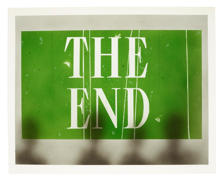 Ed Ruscha (b. 1937), The End #69, 2006. Acrylic and graphite on paper. 24 x 30  in (61 x 76.2  cm). Estimate $200,000-300,000. Offered in Post-War & Contemporary Art Day Sale on 7 October 2020 at Christie's in New York
