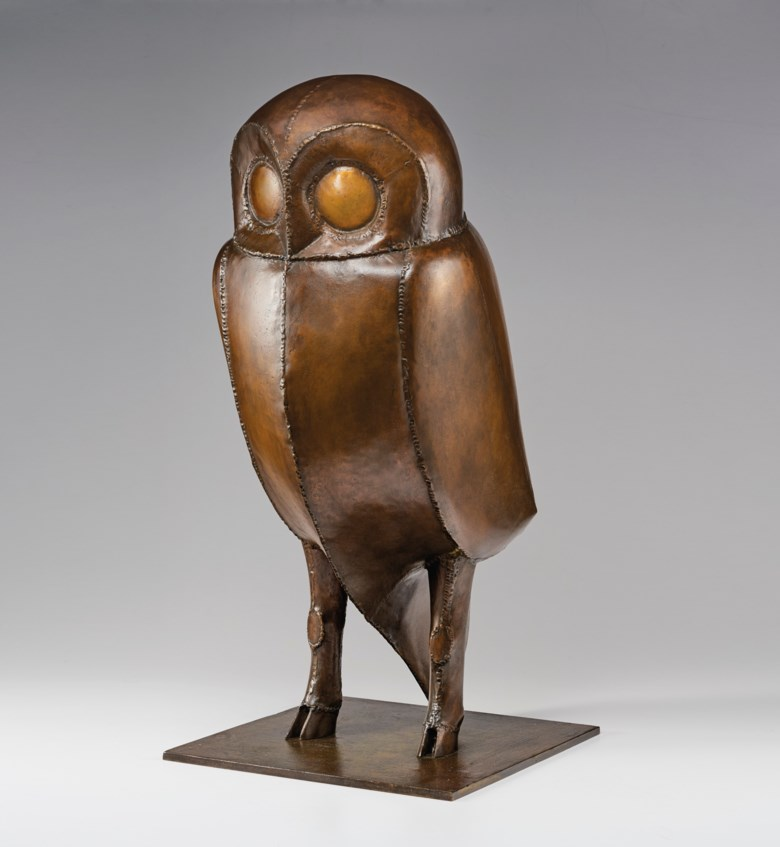 François-Xavier Lalanne (1927-2008), Chouette de Tourtour, 2002; from an edition of 8, plus 4 artists proofs. Height 32 in (81 cm). Estimate $500,000-700,000. Offered in La Ménagerie on 4 December 2020 at Christie's in New York