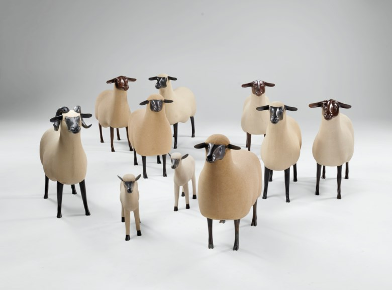 François-Xavier Lalanne (1927-2008), Troupeau de Moutons, executed between circa 1979 and 2004. Sheep 20½ in (52 cm) high; 24 in (60.9 cm) wide; 6⅝ in (16.8 cm) deep. Estimate $2,500,000-3,500,000. Offered inLa Ménagerie on 4 December 2020 at Christie's in New York