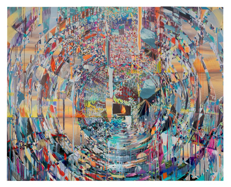 Sarah Sze (b. 1969), Surprise Ending, 2020. Triptych–oil, acrylic, acrylic polymers, ink, aluminum, diabond, and wood. Overall 80 x 100 x 3  in (203.2 x 254 x 7.6  cm). Sold for $737,500 on 3 December 2020 at Christie's in New York