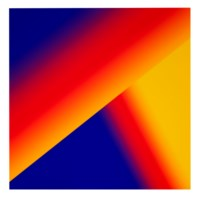 """Photoshop CS: 50 by 50 inches, 300 DPI, RGB, square pixels, default gradient """"Blue, Yellow, Red"""", mousedown y=20 x=5000, mouseup y=7500 x=10800; tool """"Wand"""", select y=9200, y=9200, tolerance=60, contiguous=off; default gradient """"Blue, Yellow, Red"""", mousedown y=14800 x=10300, mouseup y=12700 x=14300"""