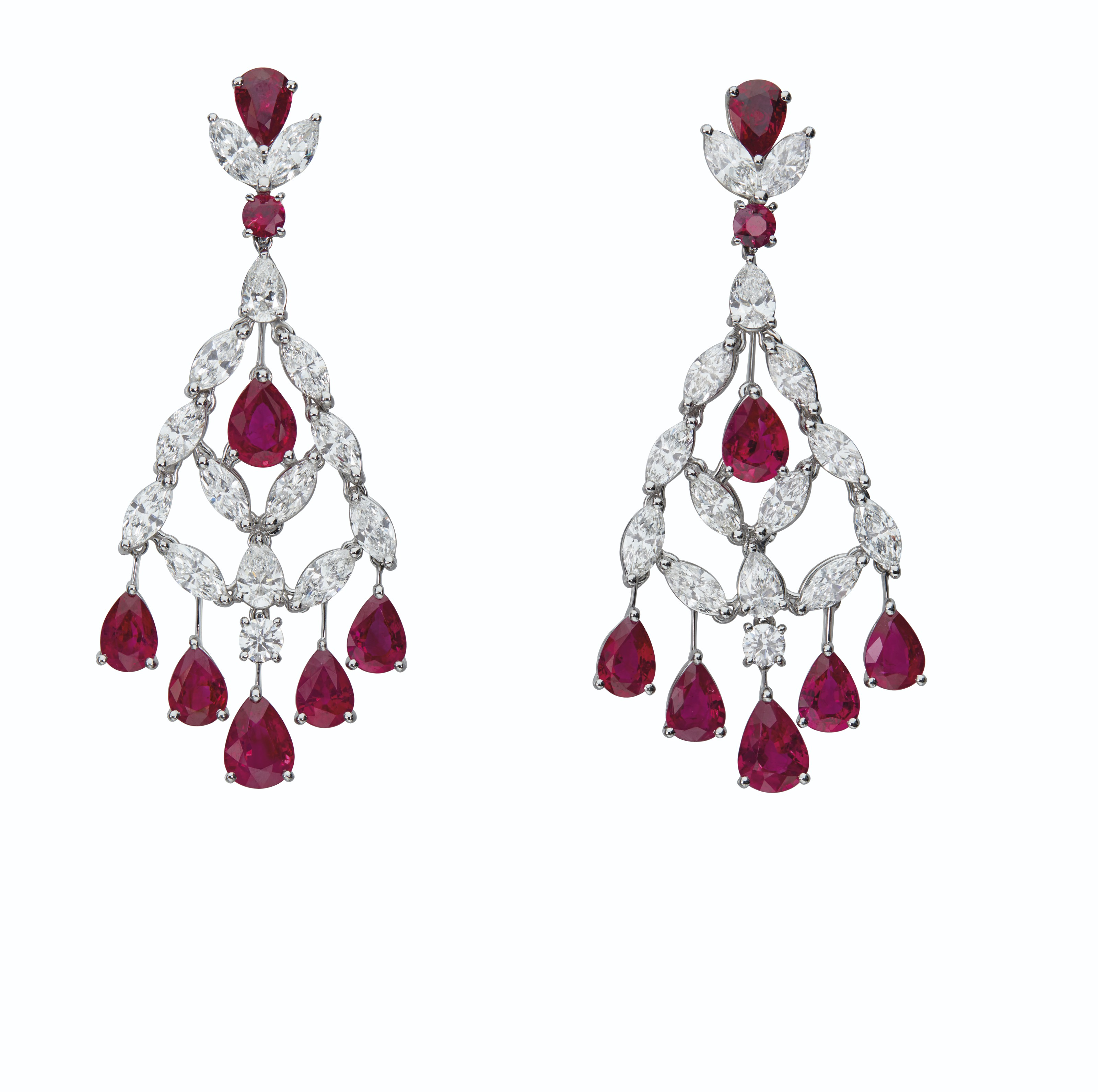 RUBY AND DIAMOND EARRINGS, GRAFF