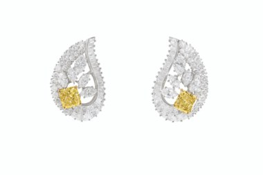 Coloured diamond and diamond earrings, Graff. Sold for $47,500 in Magnificent Jewels on 29 July 2020 at Christie's in New York