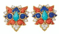 CORAL, TURQUOISE, LAPIS LAZULI AND DIAMOND EARRINGS, DONALD CLAFLIN, TIFFANY & CO.