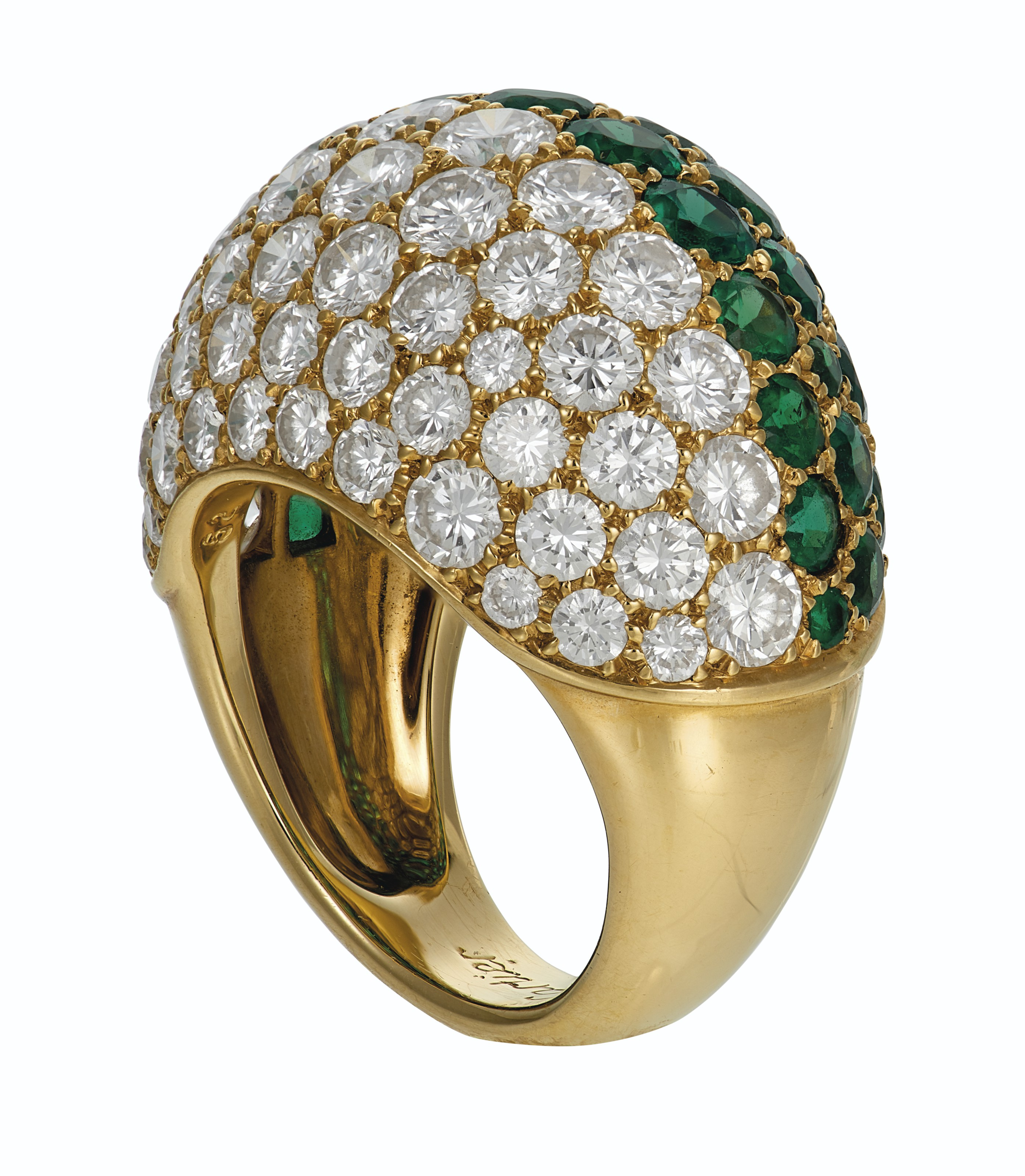 EMERALD AND DIAMOND 'BOULE' RING, CARTIER