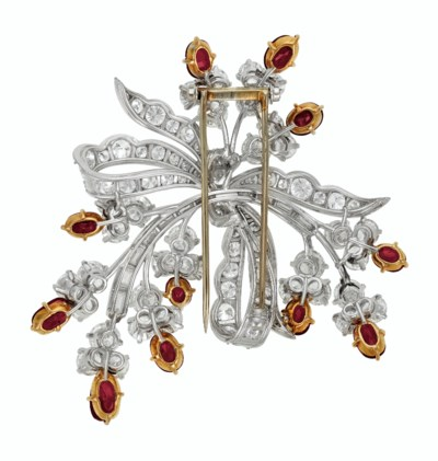 RUBY AND DIAMOND BROOCH, VAN C