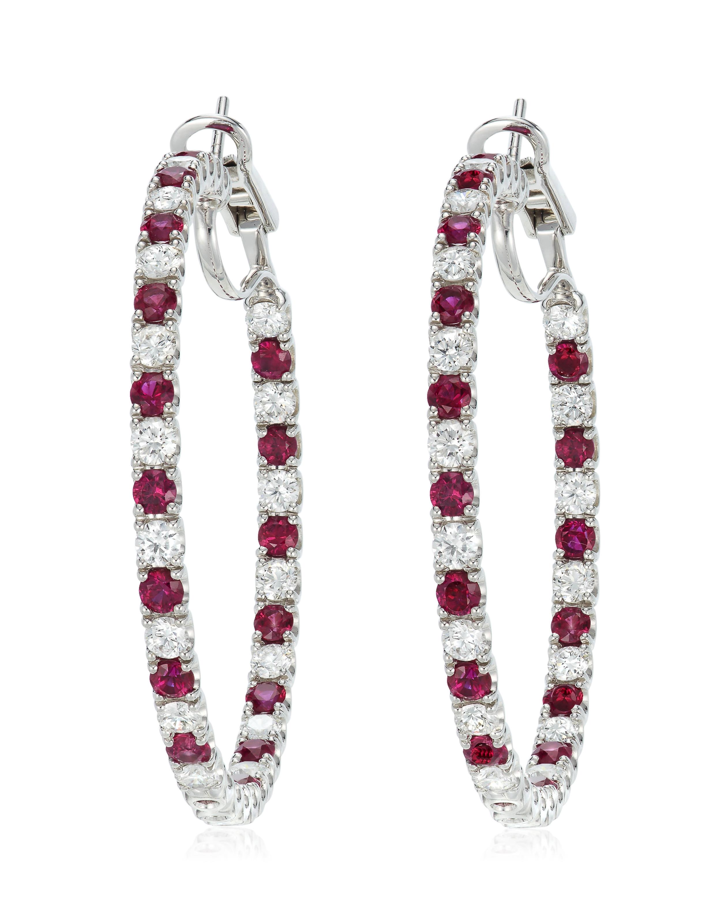 18K White Gold Hoop Earrings 337