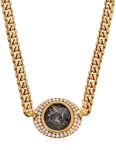 Bulgari 'Monete' diamond coin necklace. 40 cm length, 2.8 cm at widest point. Estimate $8,000-12,000. Offered in  Jewels Online, 13-24 April 2020, Online
