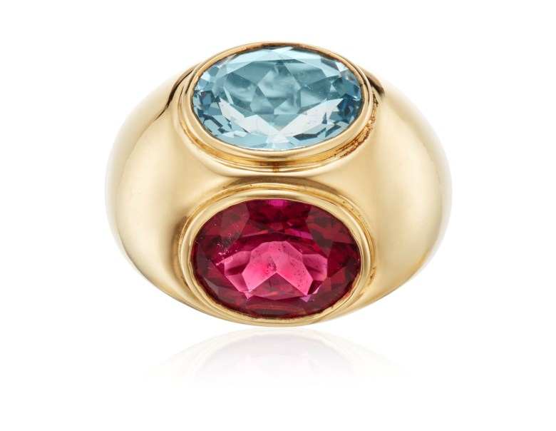 Tiffany & Co. Paloma Picasso aquamarine and tourmaline ring. Estimate $2,600-3,200. Offered in  Jewels Online, 13-24 April 2020, Online