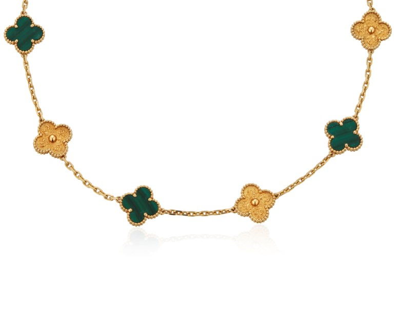 Van Cleef & Arpels malachite and gold 'vintage Alhambra' necklace. SizeDimensions 41.5 cm length, 1.5 cm width of motif. Estimate $6,000-8,000. Offered in  Jewels Online, 13-24 April 2020, Online
