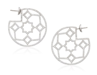 Tiffany & Co. Paloma Picasso Marrakesh diamond hoop earrings. 3.9 cm diameter. Estimate $3,000-5,000. Offered in  Jewels Online, 13-24 April 2020, Online
