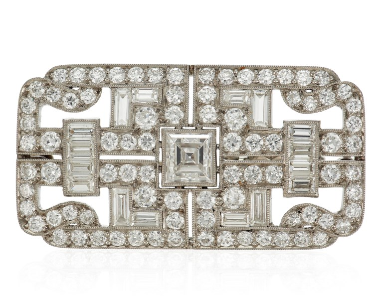 Art Deco J.E. Caldwell diamond brooch, circa 1930. 4 cm long x 2 cm wide. Estimate $2,000-3,000. Offered in  Jewels Online, 13-24 April 2020, Online