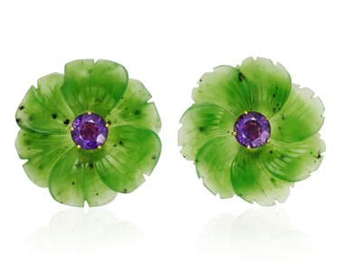 Tiffany & Co. Paloma Picasso nephrite and amethyst earrings. 4.1 cm diameter. Estimate $2,000-3,000. Offered in  Jewels Online, 13-24 April 2020, Online