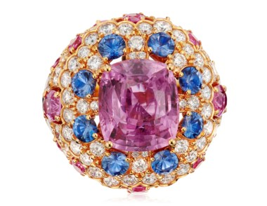 Graff pink sapphire and diamond ring. Estimate $40,000-60,000. Offered in Jewels Online, 8-22 September 2020, Online