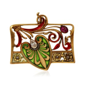 ART NOUVEAU ENAMEL, RUBY AND DIAMOND PENDANT