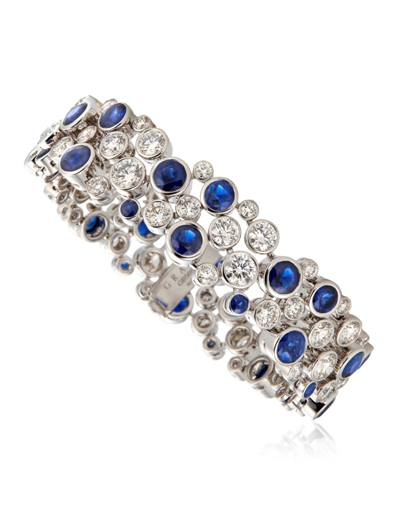 Graff diamond and sapphire bracelet. Estimate $60,000-80,000. Offered in Jewels Online, 8-22 September 2020, Online