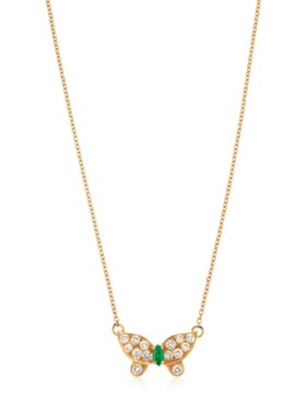 VAN CLEEF & ARPELS EMERALD AND DIAMOND BUTTERFLY NECKLACE