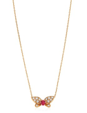 VAN CLEEF & ARPELS RUBY AND DIAMOND BUTTERFLY NECKLACE