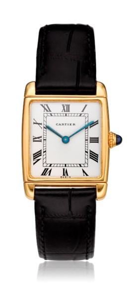 "CARTIER, ""REVERSIBLE"", 18K GOLD, RECTANGULAR WRISTWATCH"