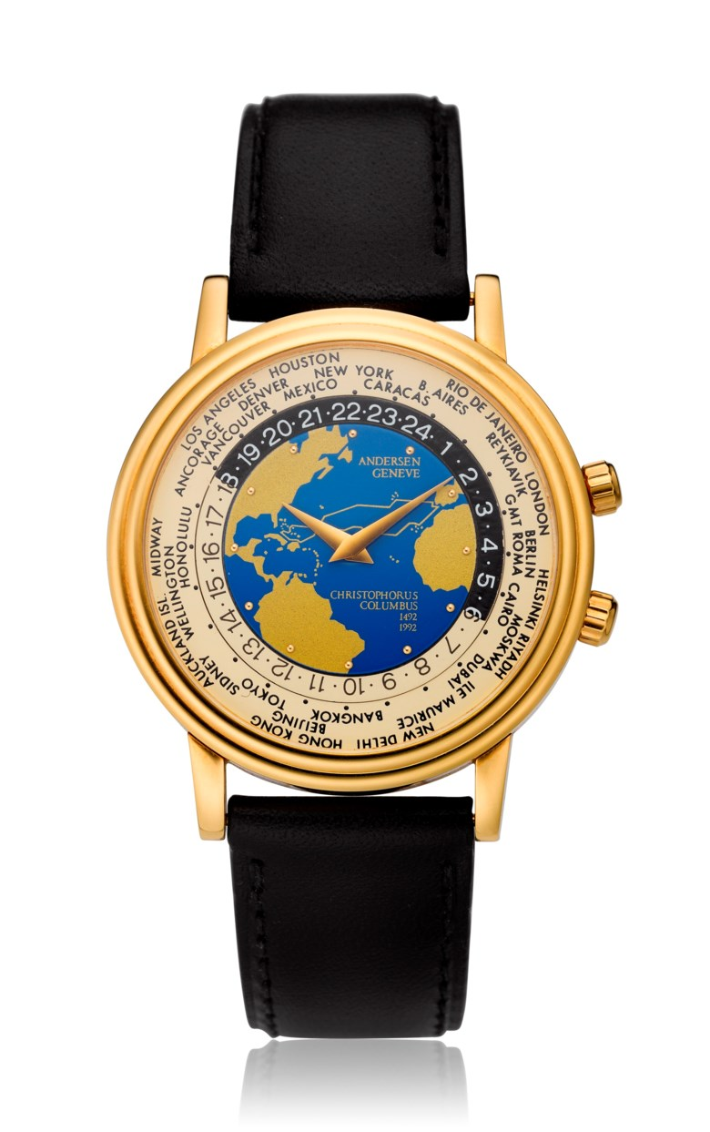 Andersen Geneve, World Time, 18k gold, Christopher Columbus 500th anniversary, no. 096 of 500. Diameter: 35mm. Estimate: $2,500-3,500. Offered in Watches Online, 25 February to 10 March 2020, Online