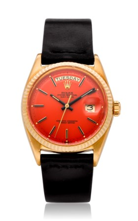 "ROLEX, DAY-DATE ORANGE ""STELLA DIAL"" 18K GOLD, REF. 1803"